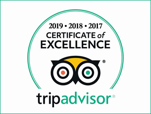 TripAdvisor Certificate of Excellence 2017, 2018 and 2019