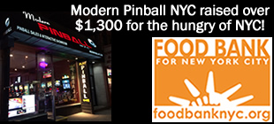 Modern Pinball Raised Money for Food Bank of NYC